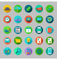Round flat icons set with concepts of business vector image
