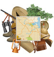 Safari Concept with Map vector image vector image