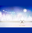 santa claus in a sleigh sweeps over winter vector image