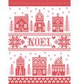 scandinavian christmas village pattern noel vector image vector image