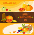 set of cartoon thanksgiving day banner templates vector image vector image