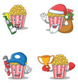 set of popcorn character with beer gift plumber vector image vector image
