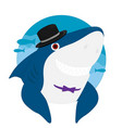 shark cartoon hat smile eps10 vector image vector image