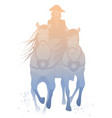 silhouette chariot pulled two horses vector image vector image
