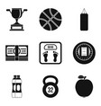 sport fight icons set simple style vector image vector image