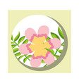 tropical leaves round banner flower branches vector image vector image