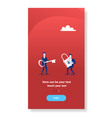two businessmen coworkers holding key and lock vector image