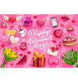valentines day gifts love hearts and flowers vector image vector image
