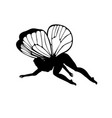 white silhouettes of cute girly fairies with vector image vector image