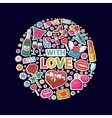 With love sticker clip mart in circle vector image vector image