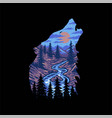 wolf forest landscape vector image vector image