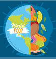 world food day healthy lifestyle meal earth vector image vector image