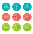 yoga line art icons with long shadow vector image vector image