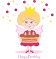 Cute pink fairy with delicious cake vector image