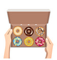 colorful donuts with glaze in open white box vector image