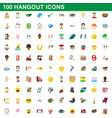 100 hangout icons set cartoon style vector image