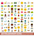 100 philanthropy icons set flat style vector image vector image