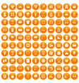100 tennis icons set orange vector image vector image