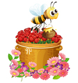 A basket of red roses and a bee with a pot of vector image vector image