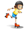 A young girl rollerskating vector image vector image