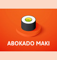 abokado maki isometric icon isolated on color vector image vector image