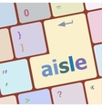 aisle words concept with key on keyboard vector image vector image