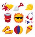 beach fun icons vector image