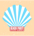 beach party poster template shell conch vector image