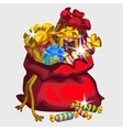 Big red bag of gifts and sweets festive icon vector image vector image