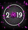 black 2019 happy new year card with purple bow and vector image vector image