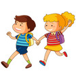 boy and girl holding hands vector image vector image