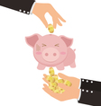 Business Hand Putting Gold Coin Into Cute Piggy vector image vector image