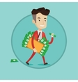 Businessman with suitcase full of money vector image