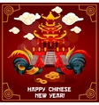 Chinese New Year poster with rooster and temple vector image vector image