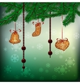 Christmas background with hanging gingerbreads vector image vector image