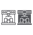 coffe machine line and glyph icon coffee and vector image vector image