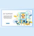 concept online 24to7 support customer vector image vector image