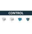 control icon set four simple symbols in diferent vector image vector image