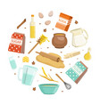 cooking products and utensils pattern round vector image vector image