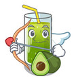 cupid avocado smoothies in a mascot glass vector image
