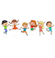 cute cartoon kids jumping fun vector image vector image
