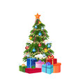 decorated gift box new year christmas tree concept vector image vector image