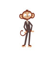 funny bewildered monkey businessman cartoon vector image vector image