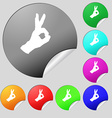 Gesture ok icon sign Set of eight multi colored vector image vector image