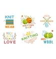 hand made knit logo set vector image