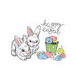 happy easter rabbit hare bunny and eggs hanging vector image