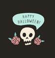 happy halloween funny skull halloween card vector image vector image
