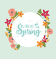 happy spring round lettering flowers border vector image vector image