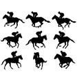 jockeys silhouettes vector image vector image