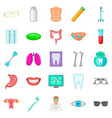 malady icons set cartoon style vector image